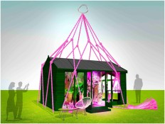 The Green Room Suspended in Pink Rope