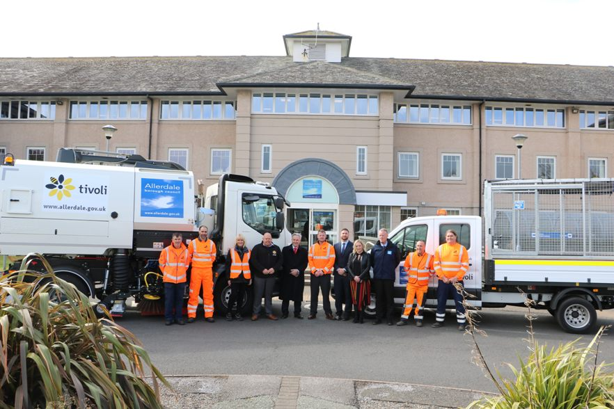 Image 1 Members of Allerdale BC with some of the Tivoli team and the new street cleaning vehicles at Allerdale House
